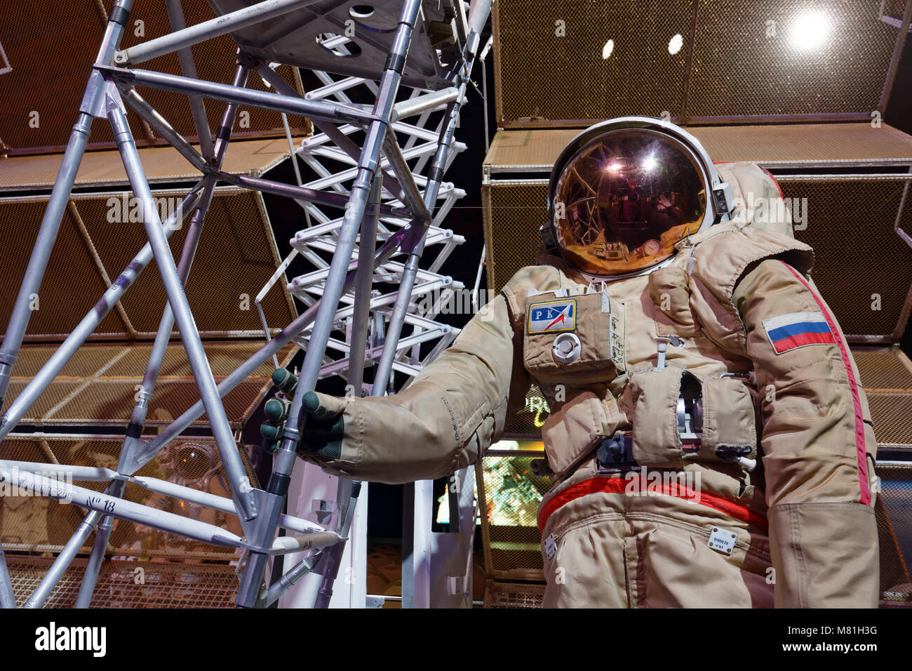 Spacesuit 'Orlan-DMA' for spacewalks on the exhibition PROCosmos in Saint-Petersburg, Russia - Stock Image
