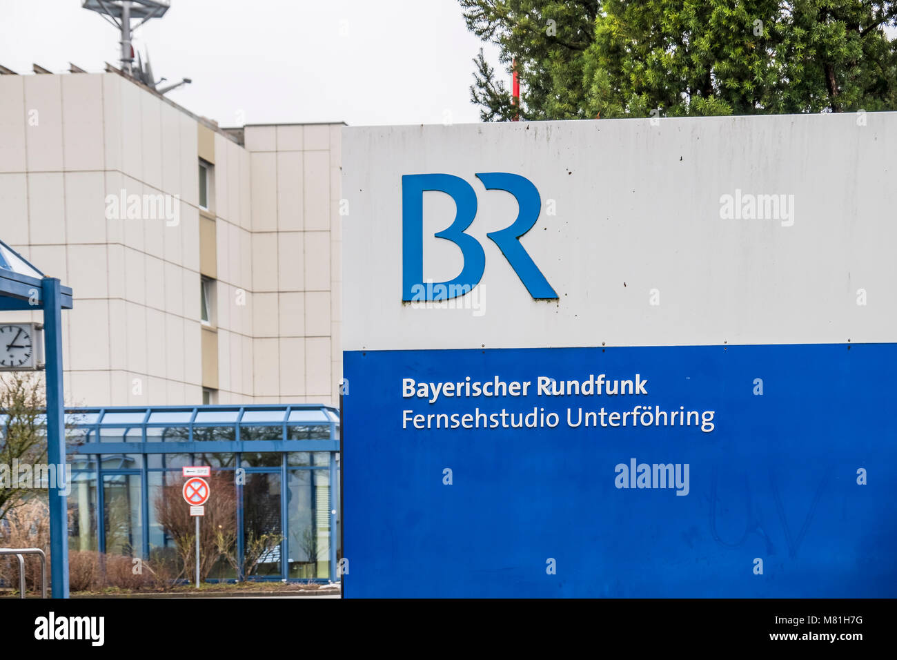 MUNICH / GERMANY - FEBRUARY 16 2018: The Bayerische Rundfunk is broadcasting from Unterfoehrung by Munich - Stock Image