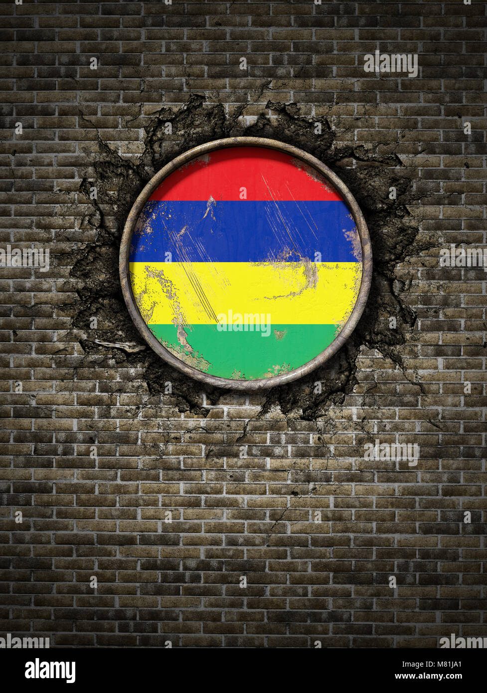 3d rendering of a Republic of Mauritius flag over a rusty metallic plate embedded on an old brick wall - Stock Image