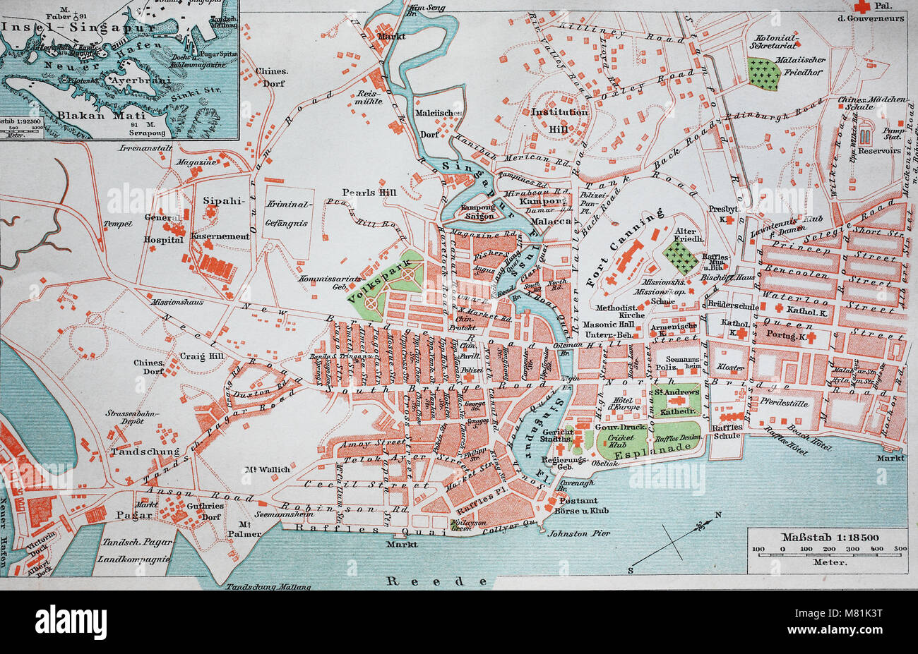 city map from the year 1892: Singapore, digital improved reproduction of an original print from the year 1895 Stock Photo