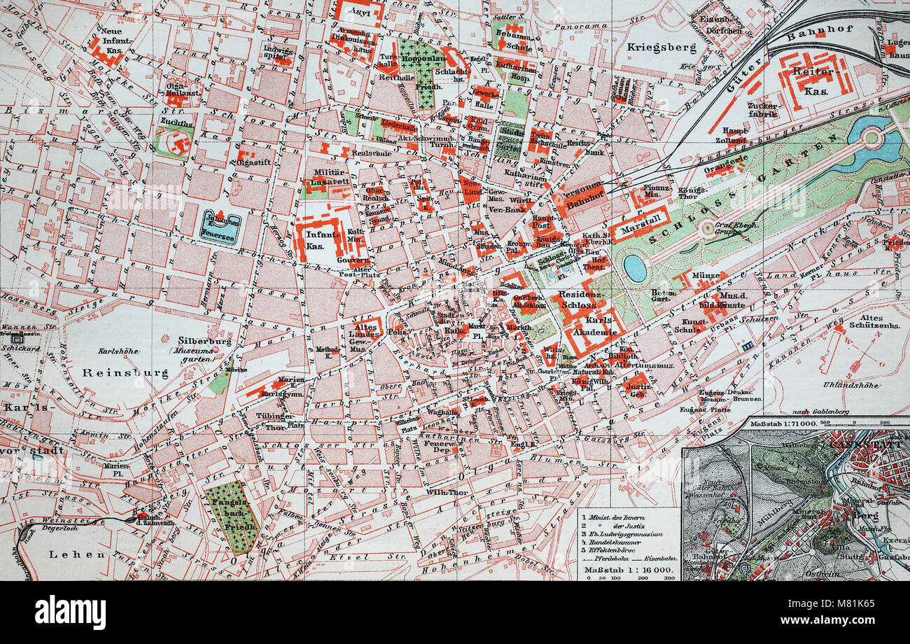 city map from the year 1892: Stuttgart, Germany, digital improved reproduction of an original print from the year Stock Photo