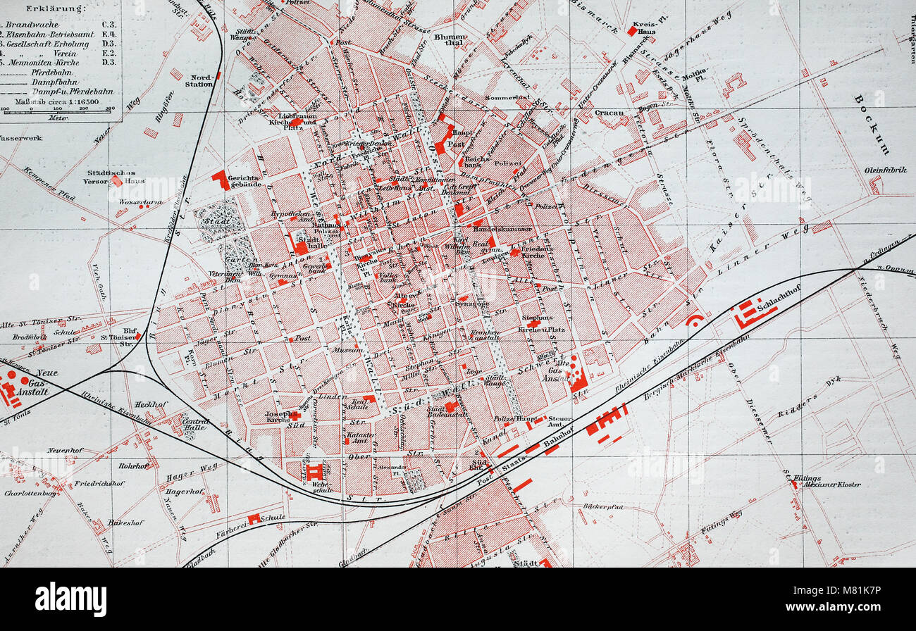 city map from the year 1892: Krefeld, Germany, digital improved reproduction of an original print from the year Stock Photo