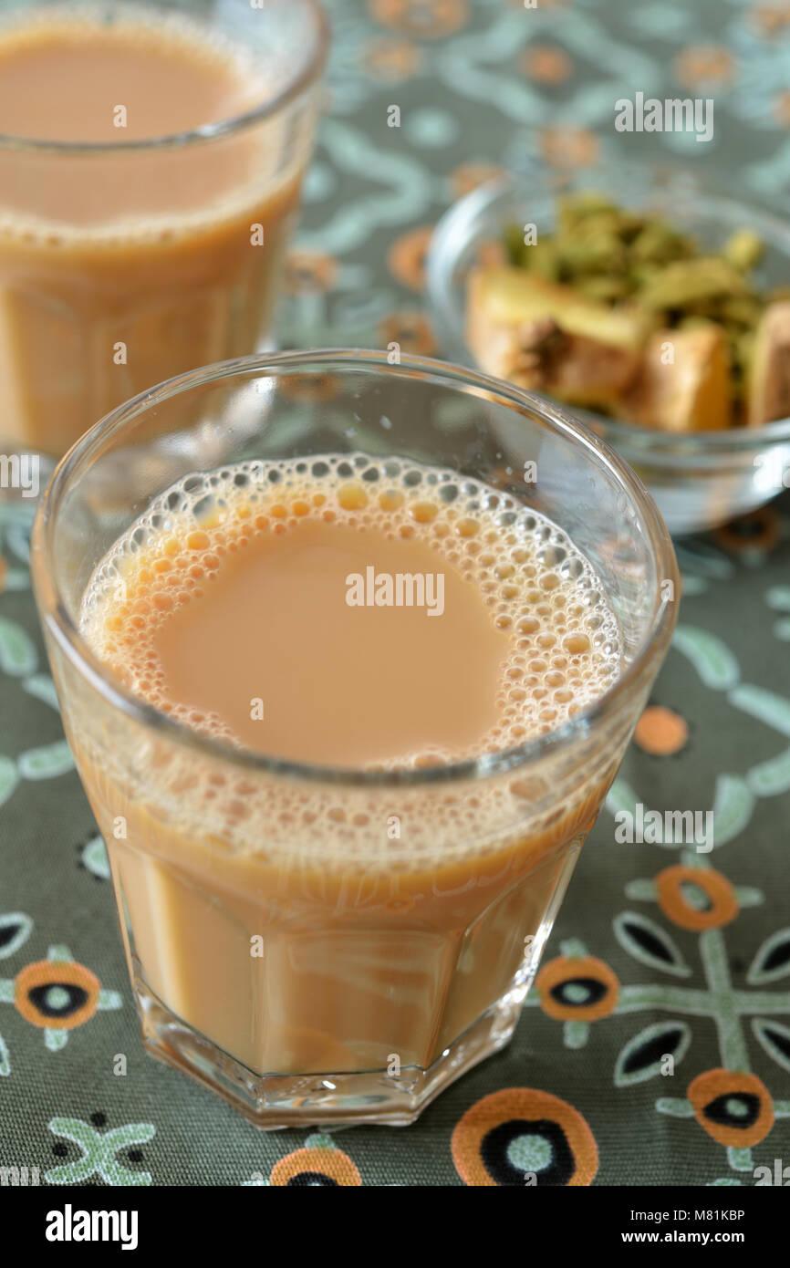 Masala chai tea and spices Stock Photo