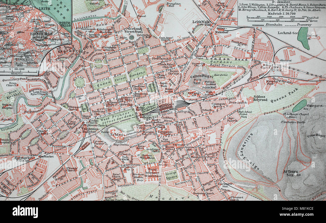 city map from the year 1892: Edinburgh, Scotland, digital improved reproduction of an original print from the year Stock Photo