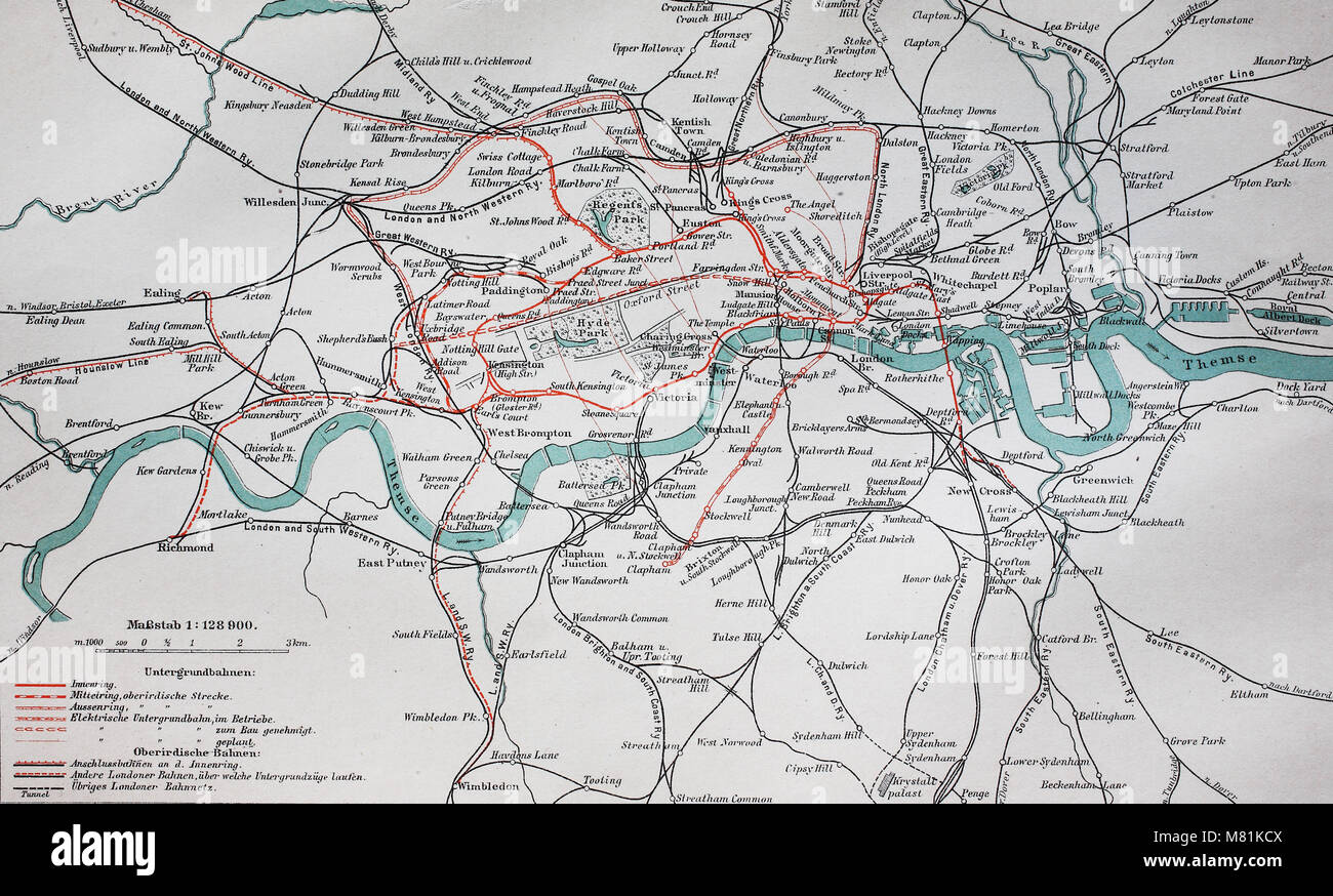 Great London Map.City Map From The Year 1892 London Underground And Train Great