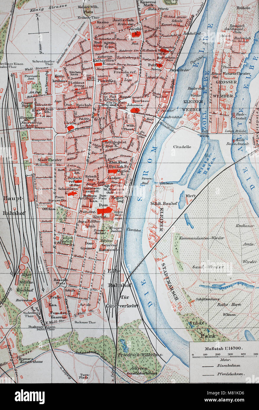 city map from the year 1892: Magdeburg and river Elbe, Germany, digital improved reproduction of an original print Stock Photo