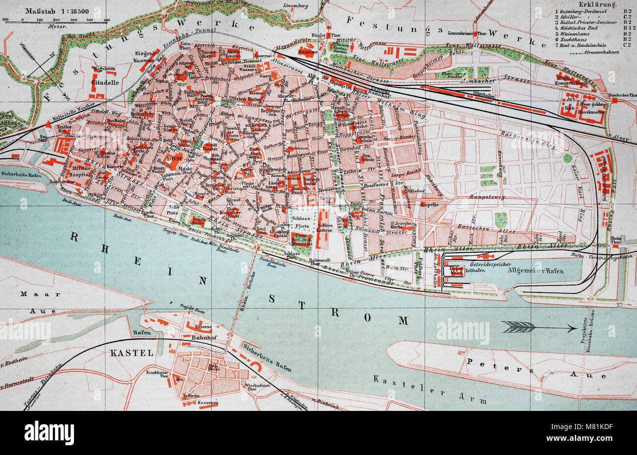 City Map From The Year 1892 Mainz Germany Digital Improved Stock
