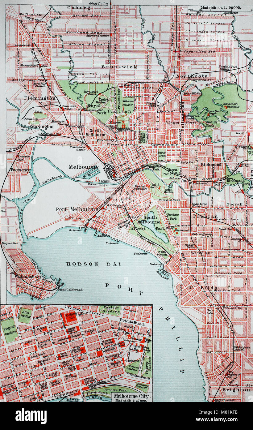 Melbourne Australia City Map.City Map From The Year 1892 Melbourne Australia Digital Improved