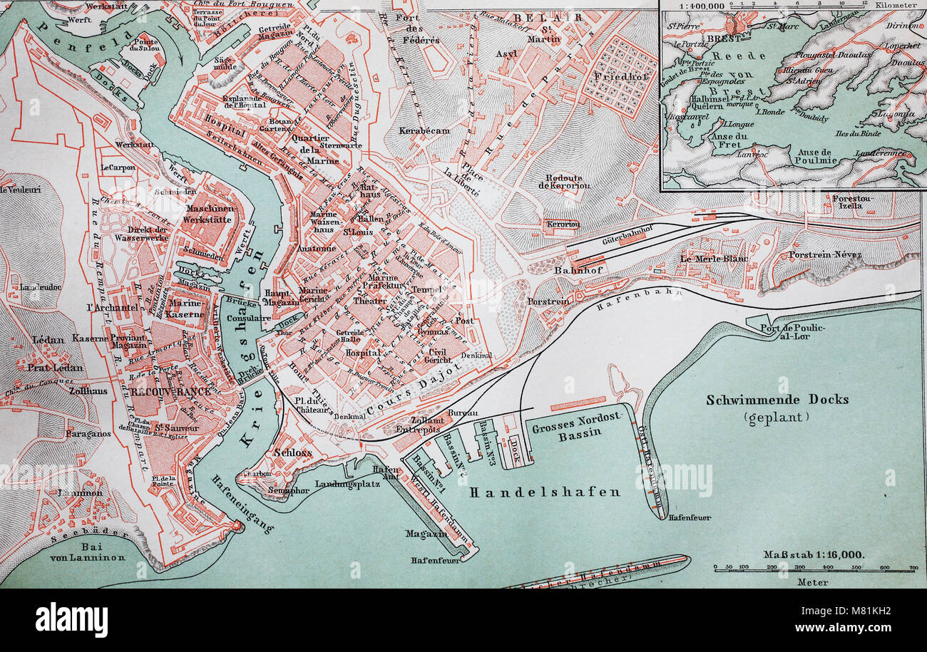 City Map From The Year 1892 Brest France Digital Improved Stock
