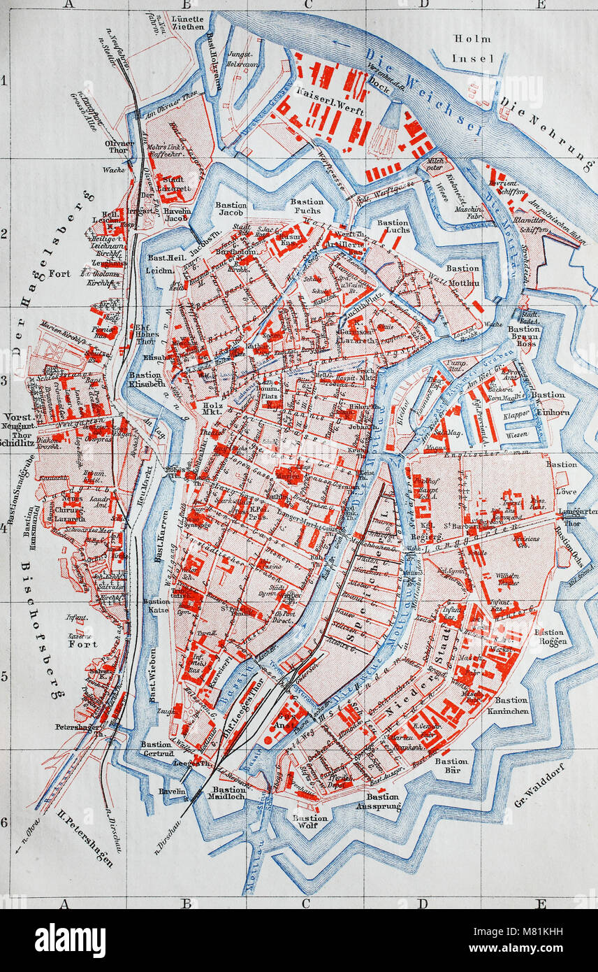 city map from the year 1892: Danzig, now Gdansk, Poland, digital improved reproduction of an original print from - Stock Image
