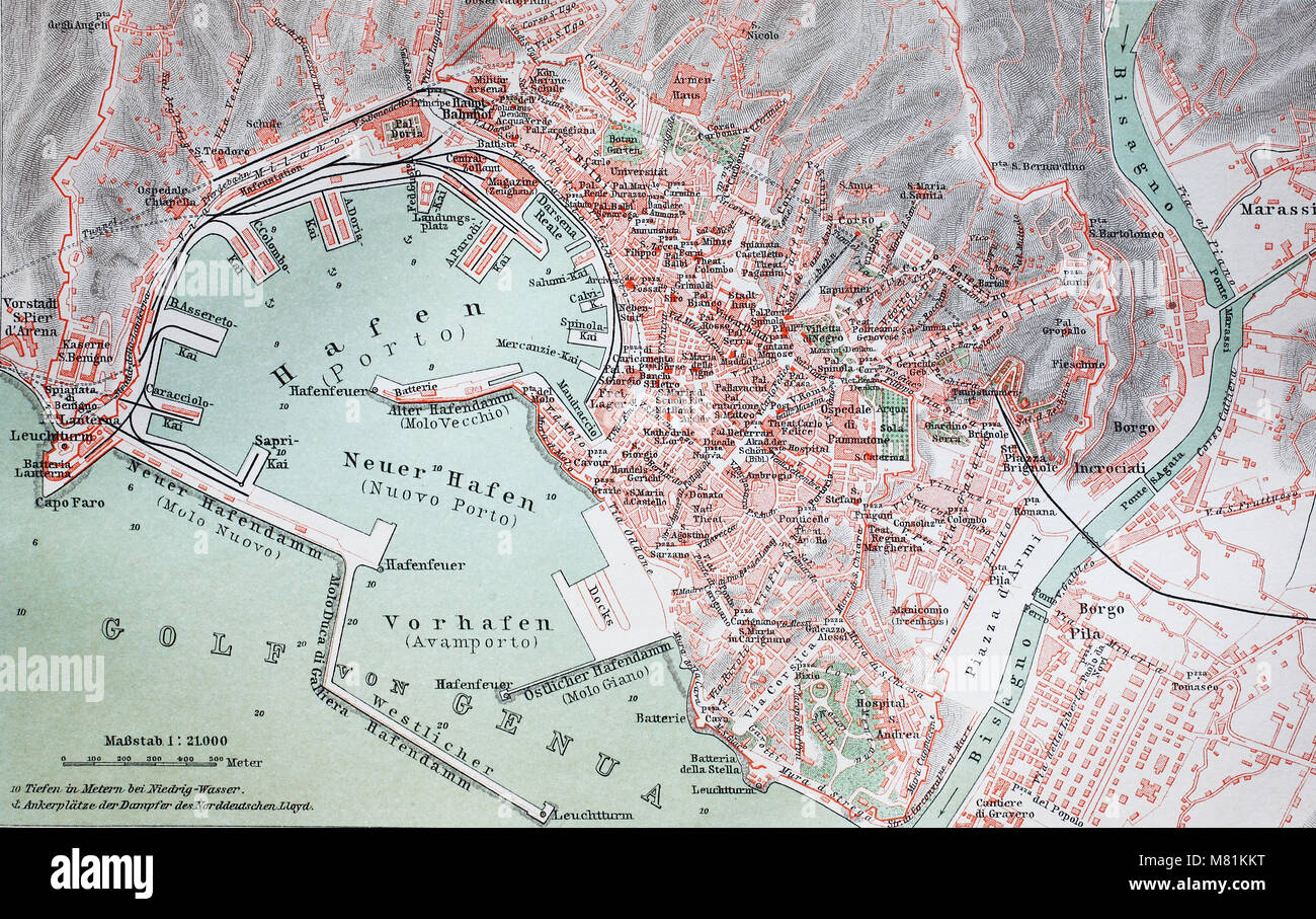 city map from the year 1892: Genova, Genoa, Italy, digital improved reproduction of an original print from the year - Stock Image