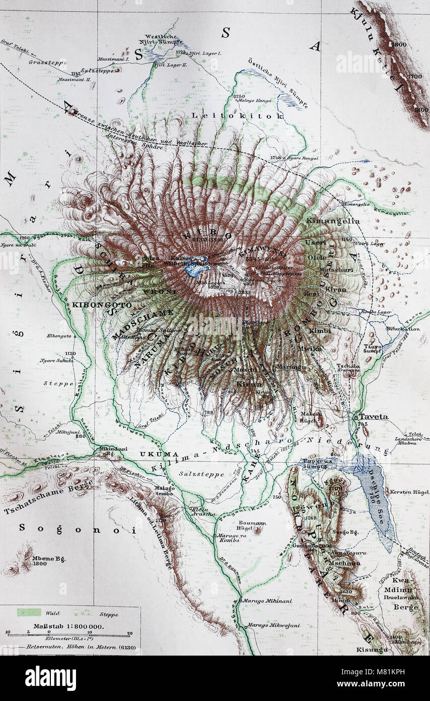 map from the year 1892: Mount Kilimanjaro, Tanzania, digital ...
