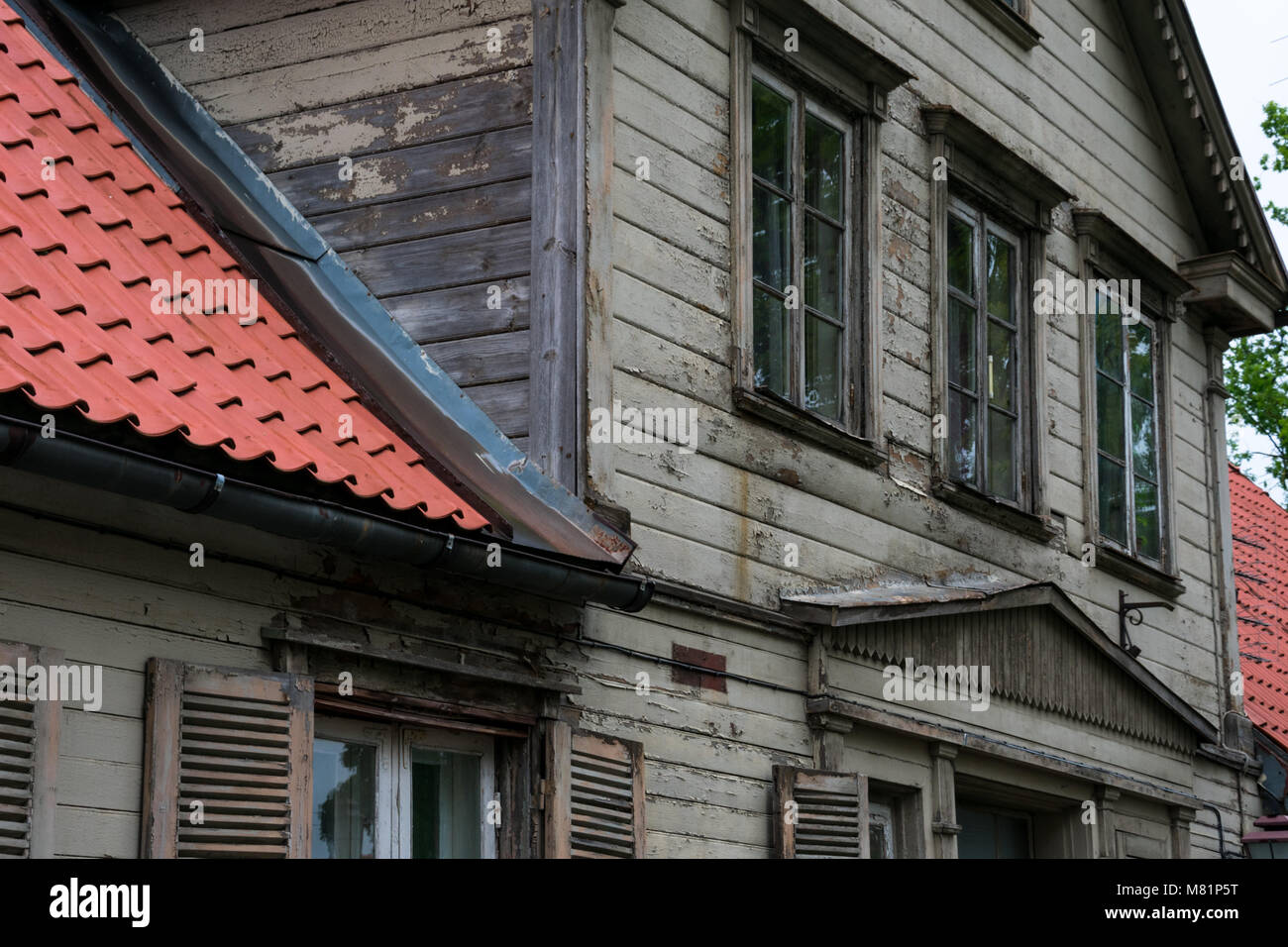 Cesis, Latvia. August 24, 2017. Old wooden house facade - Stock Image