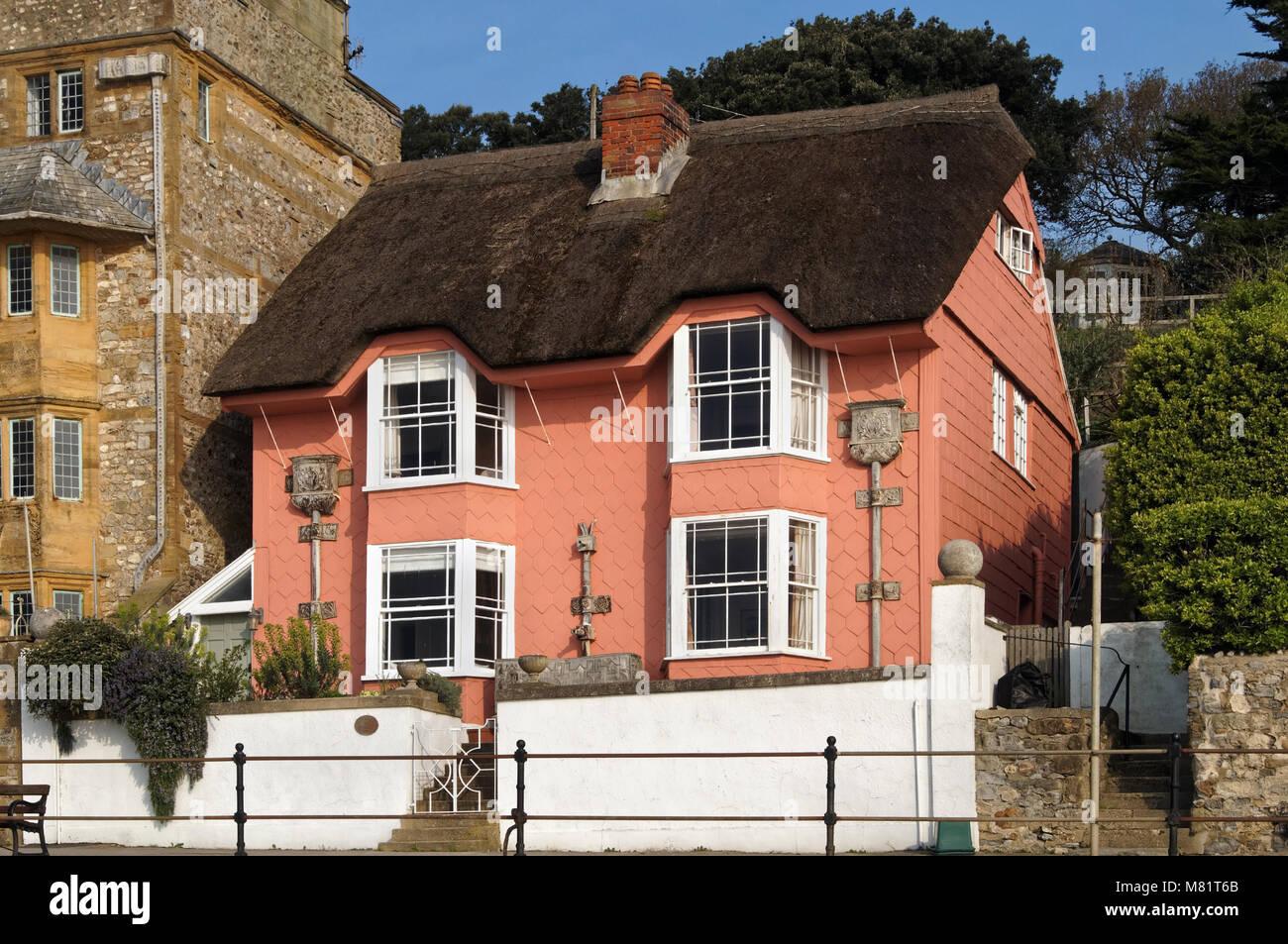 UK,Dorset,Lyme Regis,Library Cottage on Marine Parade - Stock Image