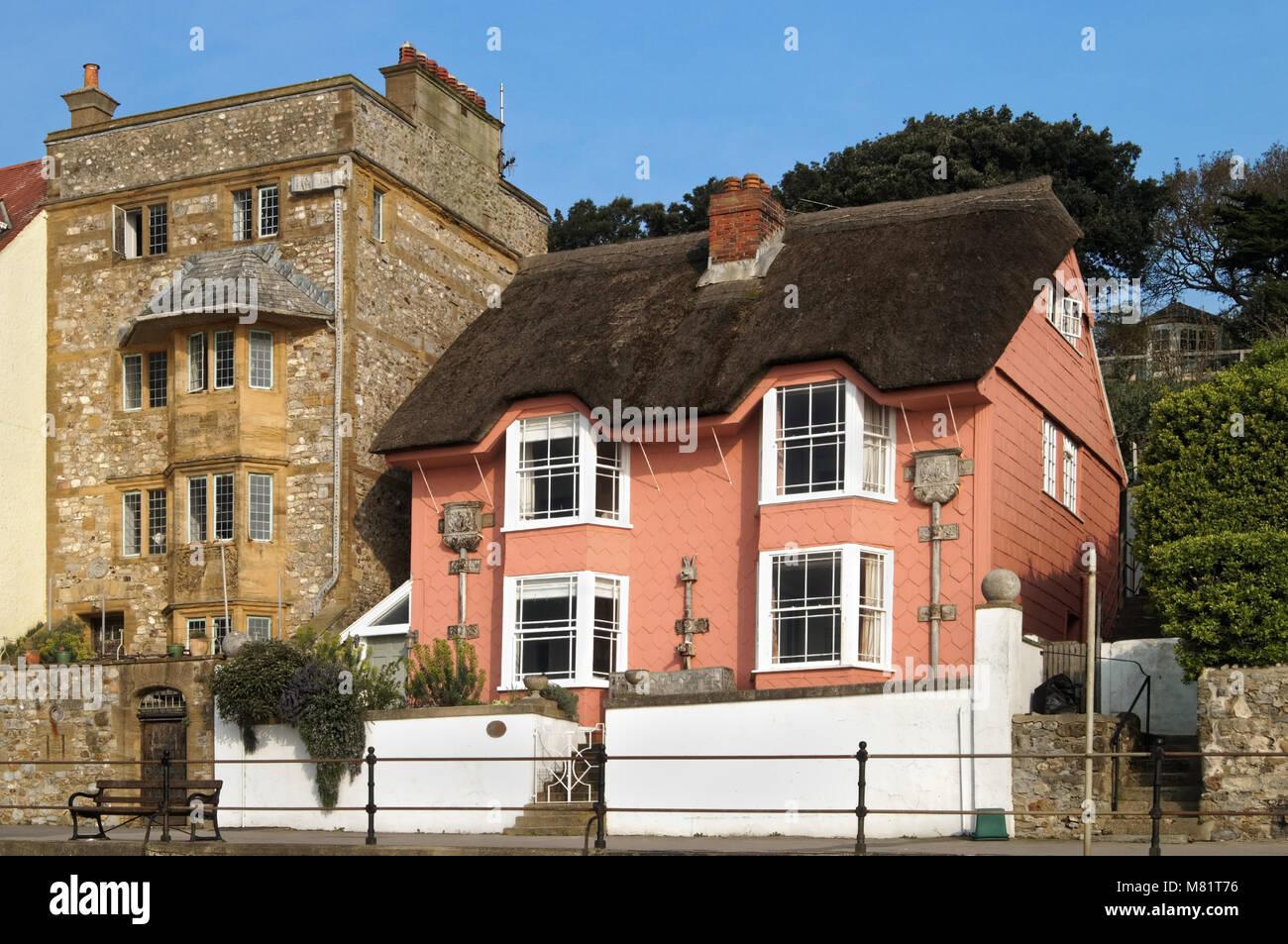 UK,Dorset,Lyme Regis,Library Cottage and Sundial House on Marine Parade - Stock Image