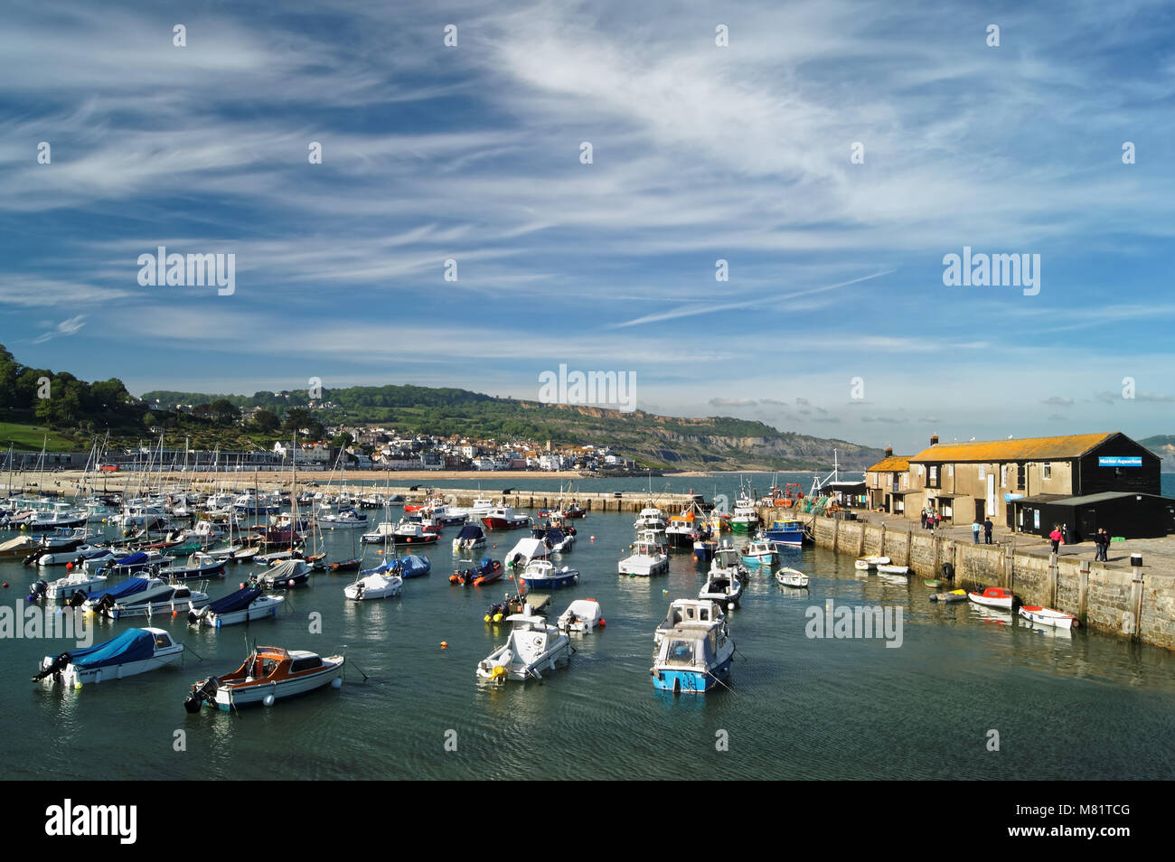 UK,Dorset,Lyme Regis,The Harbour and Aquarium from The Cobb wall,with Town in the distance. - Stock Image