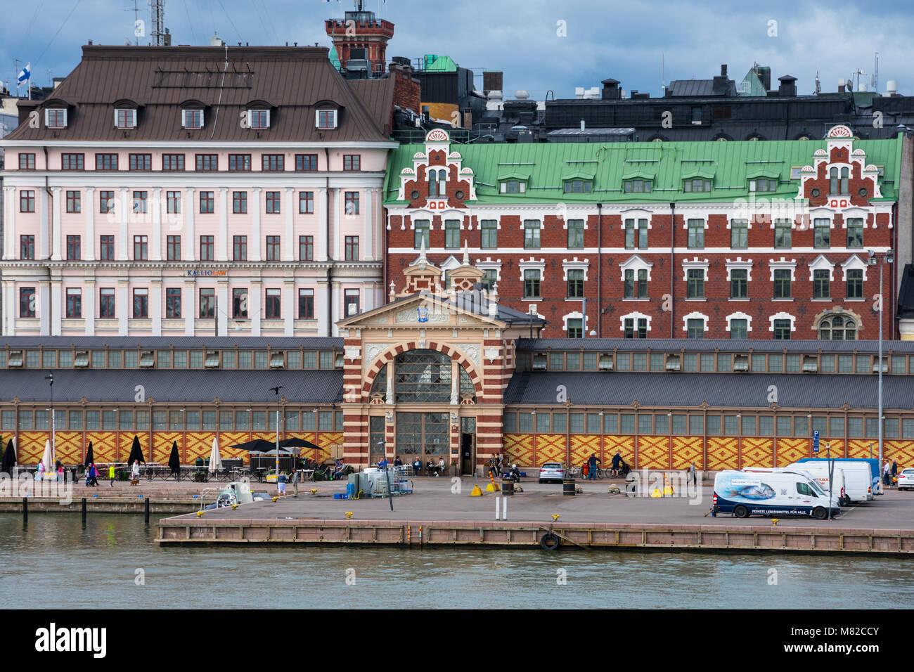 Helsinki, Finland. August 26, 2017. View of Helsinki South Harbour (Etelasatama). Market square - Stock Image
