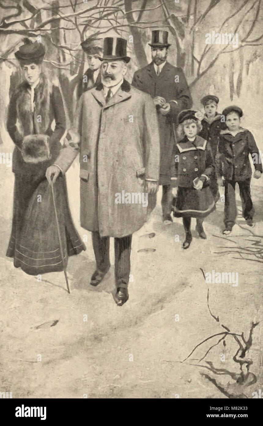 King Edward Going to Church at Sandringham on Christmas Morning - Stock Image