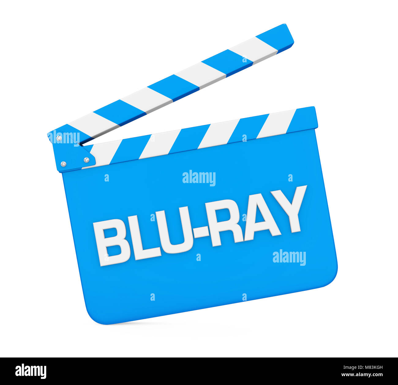 Movie Slate with 'Blu-Ray' Text Isolated - Stock Image