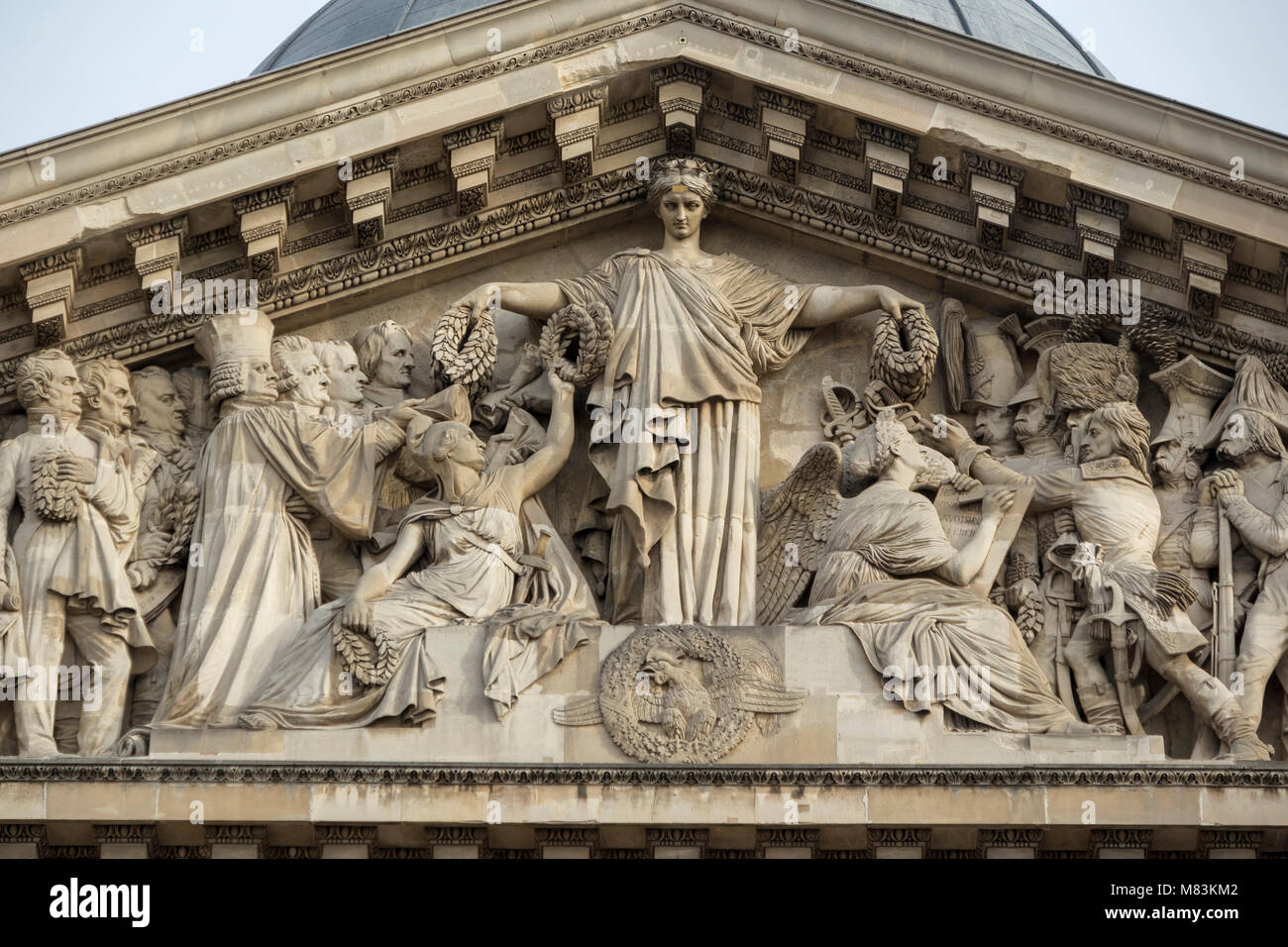entrance and pediment of the Pantheon, Paris, France - Stock Image