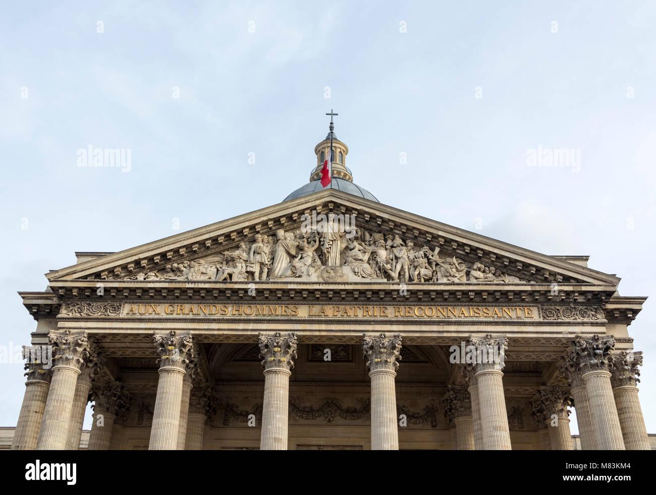 entrance and pediment of the Pantheon, Paris, France Stock Photo