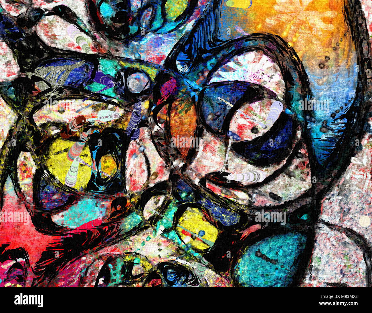 Composition with white, red yellow and blue. Cold colors - Stock Image