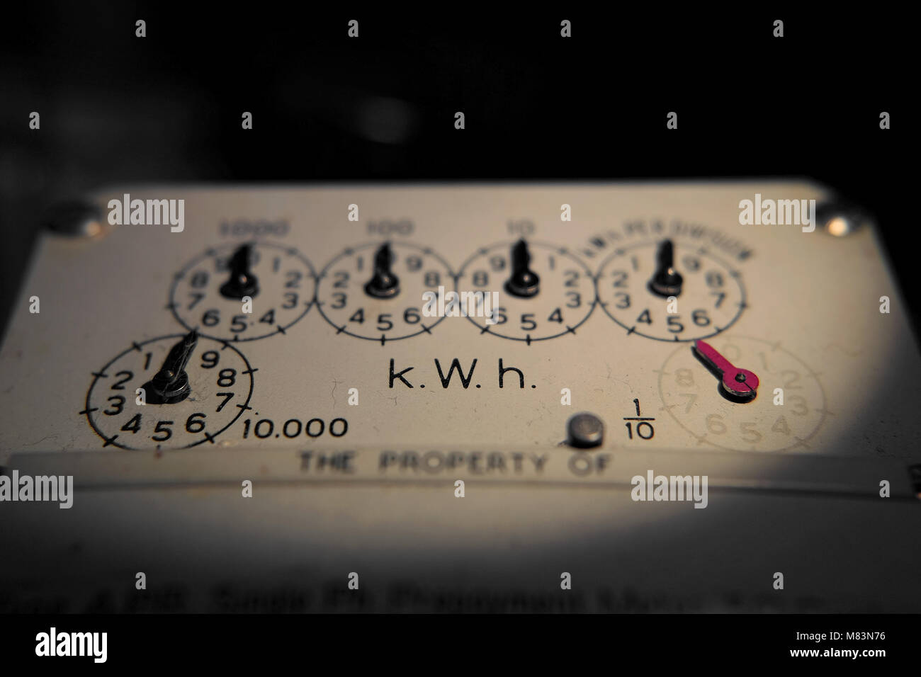 Analogue Electricity meter - Stock Image