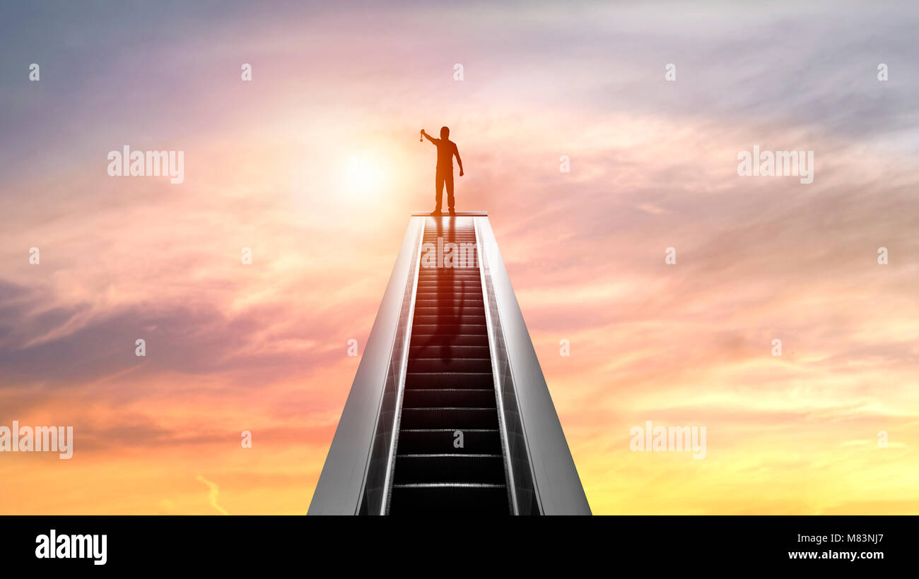 silhouette of people and Golden Medal on top of escalator with sunset, concept as  shampion or winner in bussiness - Stock Image