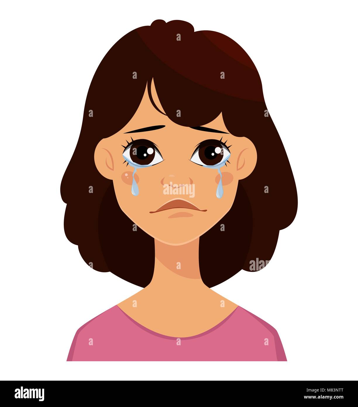 Face Expression Of A Cute Woman Crying Female Emotion