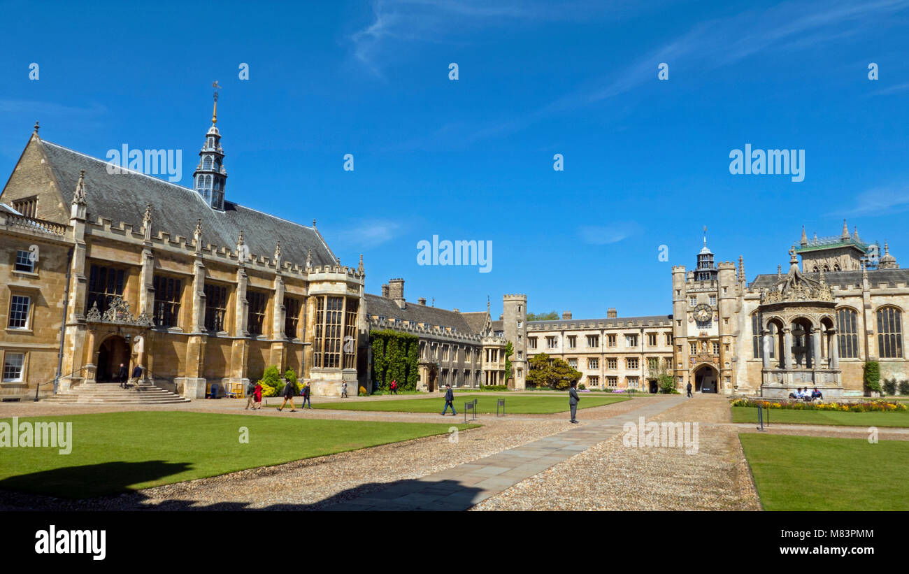 Wide view of Great Court, Masters Lodge & Hall, Trinity College Cambridge, Summer - Stock Image