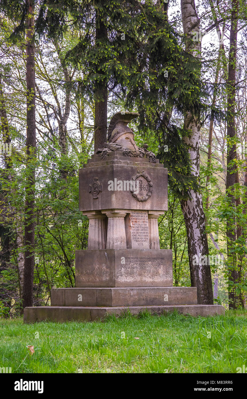 Bohemian Paradise, Cesky Raj, Czech Republic - Monument for the fallen of the Battle of Gitschin and the Battle - Stock Image
