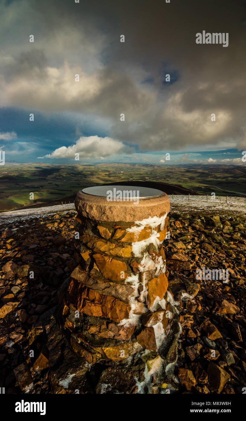 Trig Point on Tinto Hill, South Lanarkshire, Scotland - Stock Image
