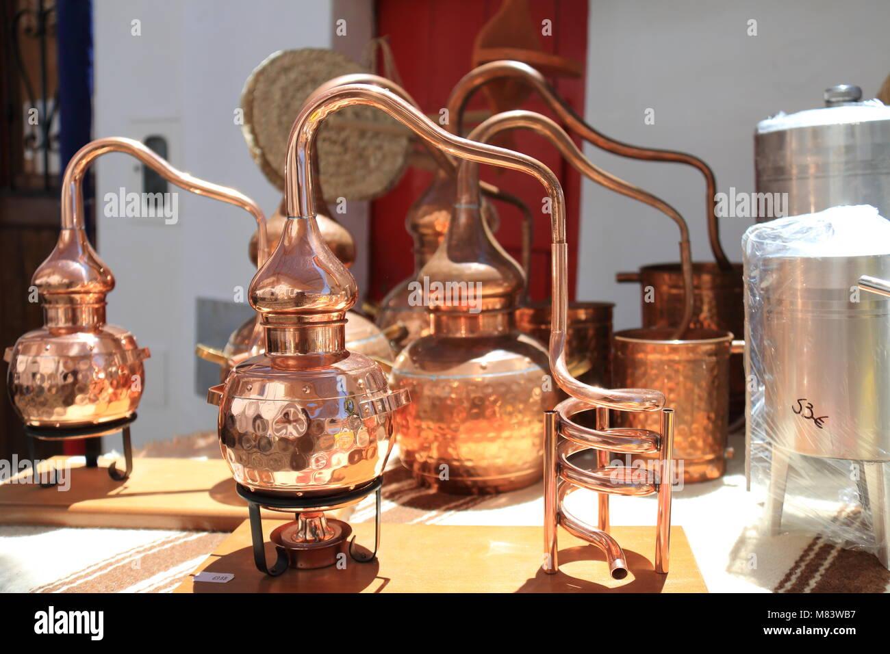 Stills for alcohol distillation - Stock Image