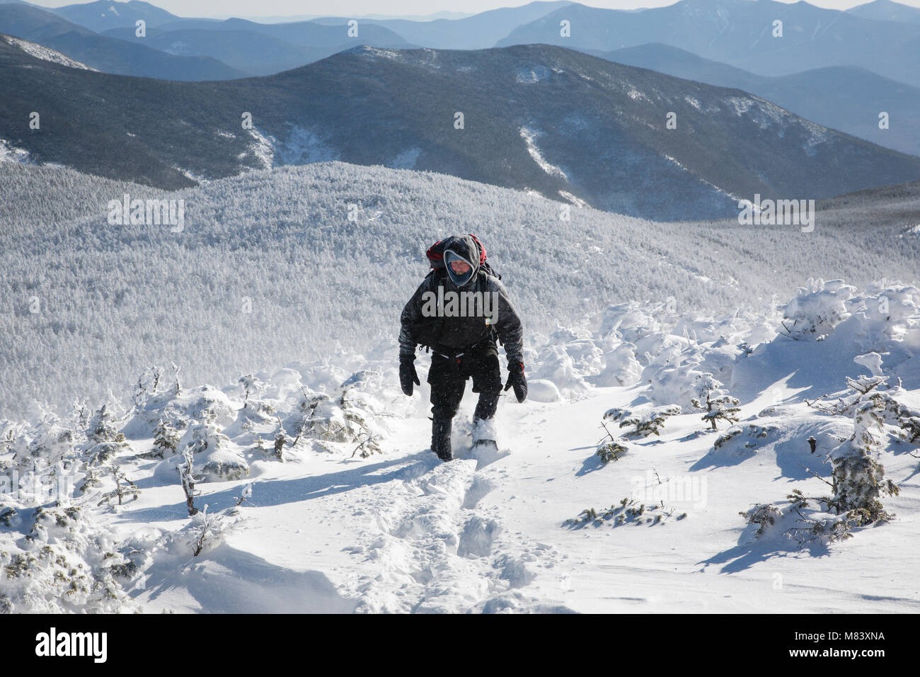 Twin Mountain Nh >> Winter Hiker On The Summit Of South Twin Mountain In The