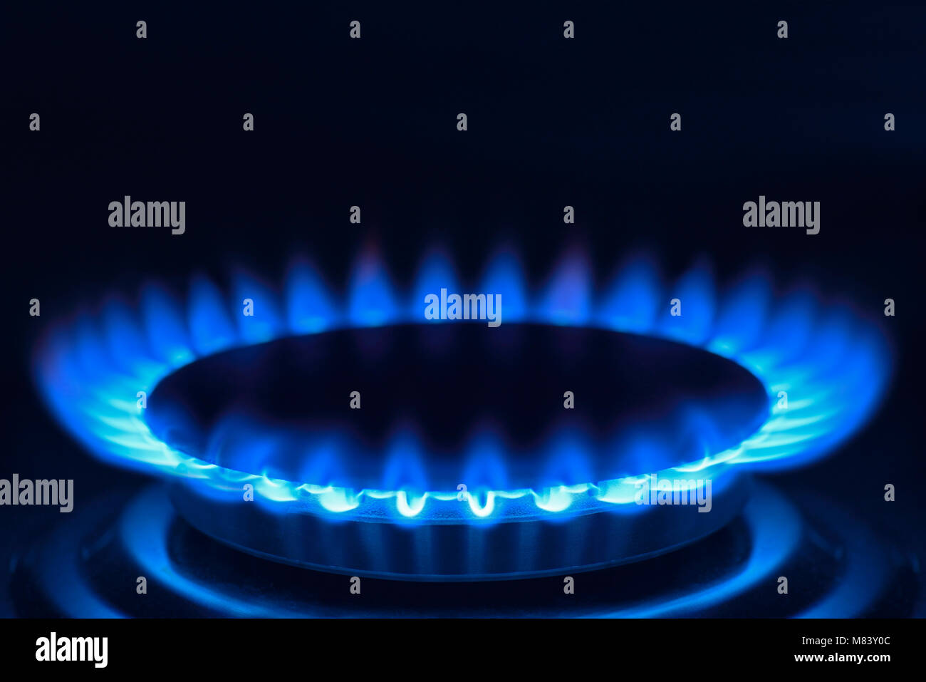 Gas Hob on a Cooker, Close Up - Stock Image