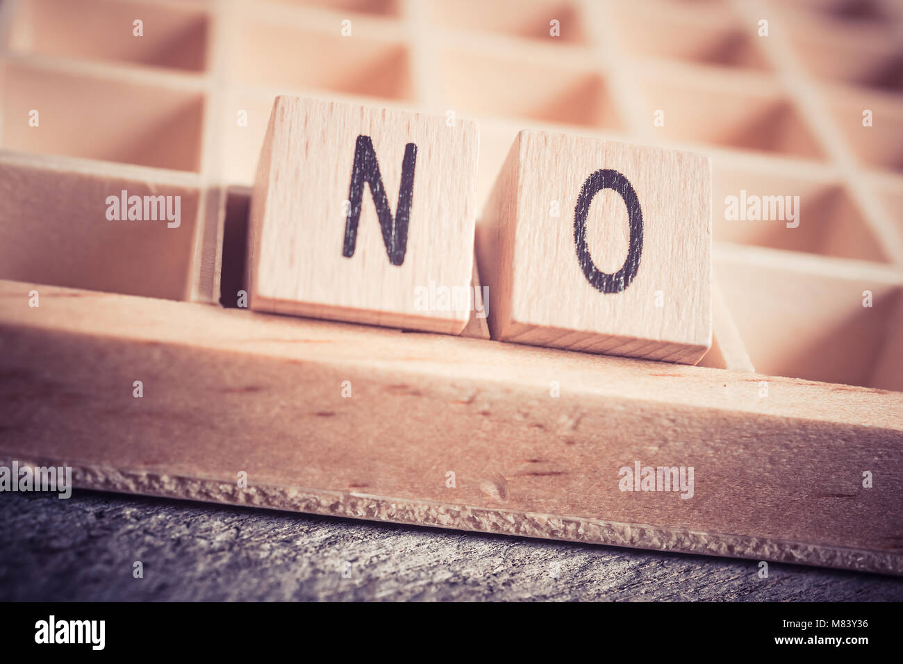 Macro Of The Word No Formed By Wooden Blocks In A Type Case - Stock Image