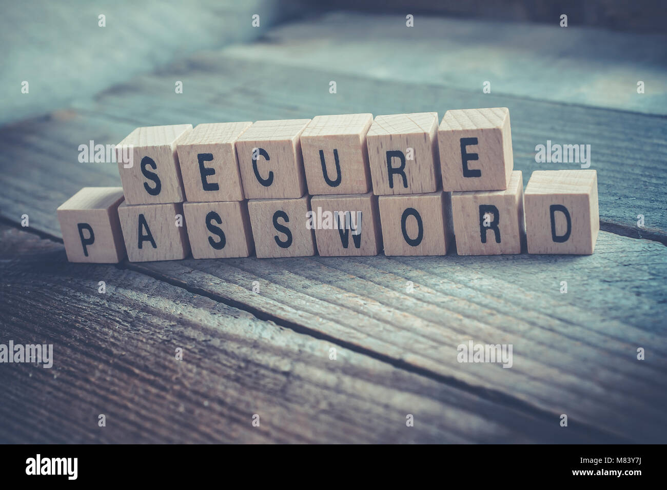 Macro Of The Words Secure Password Formed By Wooden Blocks On A Wooden Floor - Stock Image
