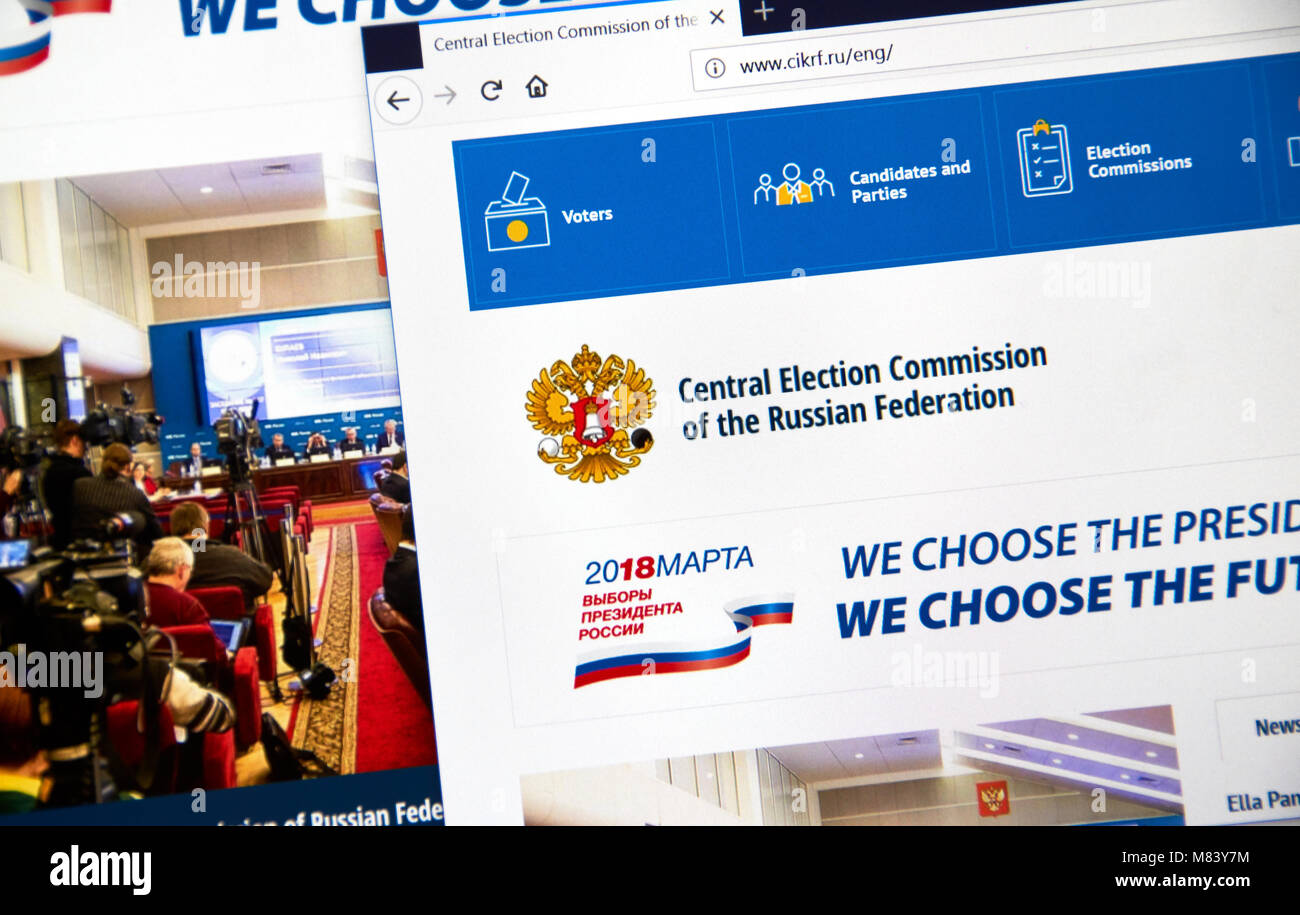 MONTREAL, CANADA - MARCH 13, 2018 : Official site of Central Election Commission of the Russian Federation. The Stock Photo