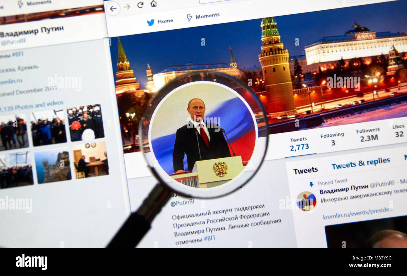 MONTREAL, CANADA - MARCH 13, 2018 : Official Twitter account of Russian president Vladimir Putin. Stock Photo