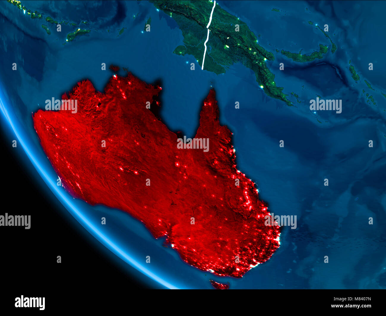 Map of australia in red as seen from space on planet earth at night map of australia in red as seen from space on planet earth at night with white borderlines and city lights 3d illustration elements of this image fu gumiabroncs Image collections