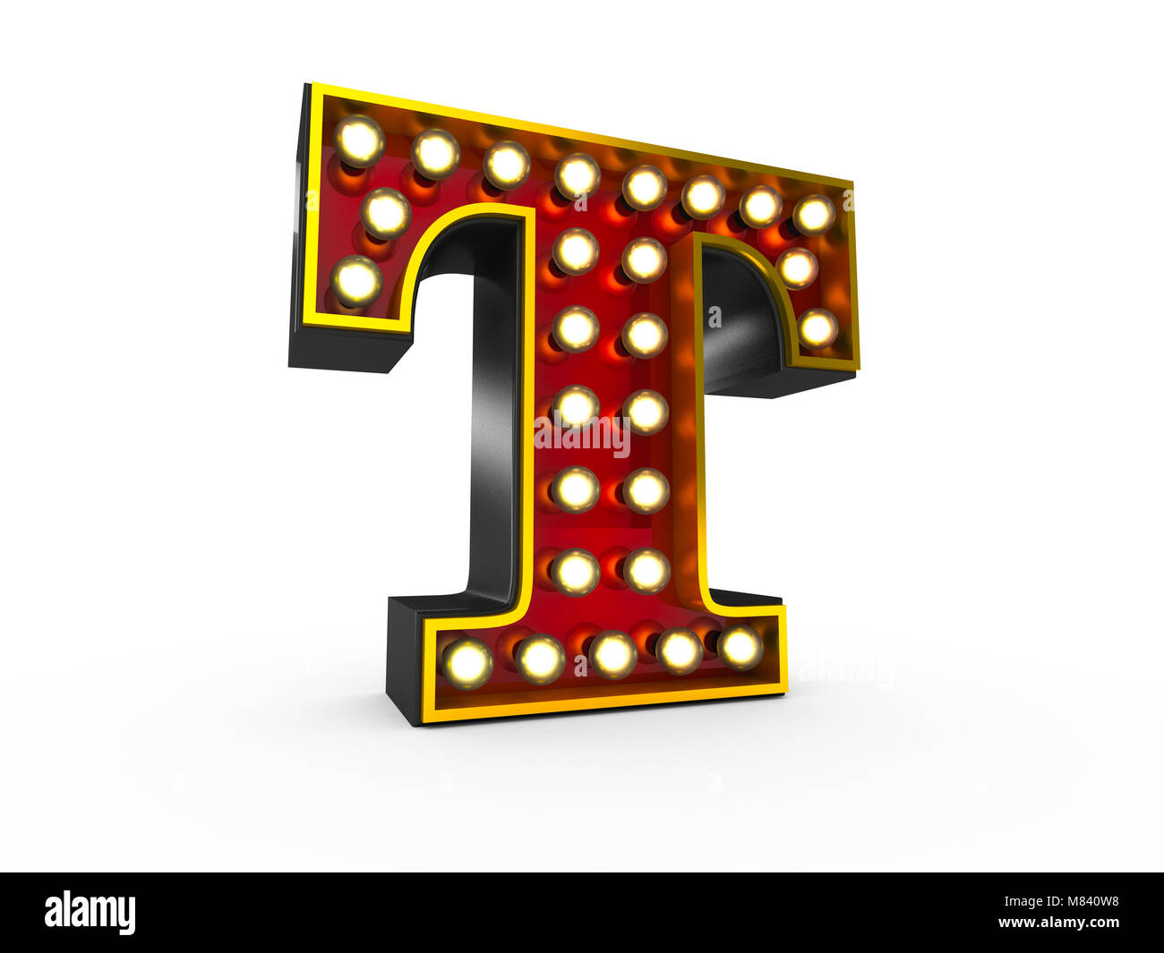 High quality 3D illustration of the letter T in Broadway style with light bulbs illuminating it over white background - Stock Image