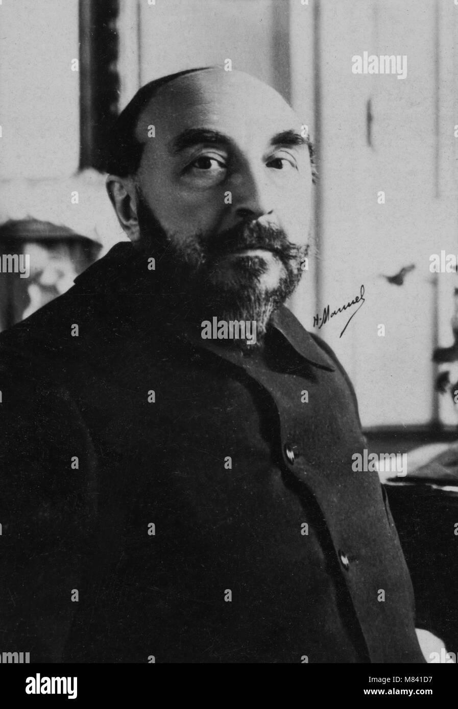 Portrait of Joseph Henri Boex alias J. - H. Rosny l Aine ( 1856 - 1940 ) writer  -  photography by  Henri Manuel - Stock Image