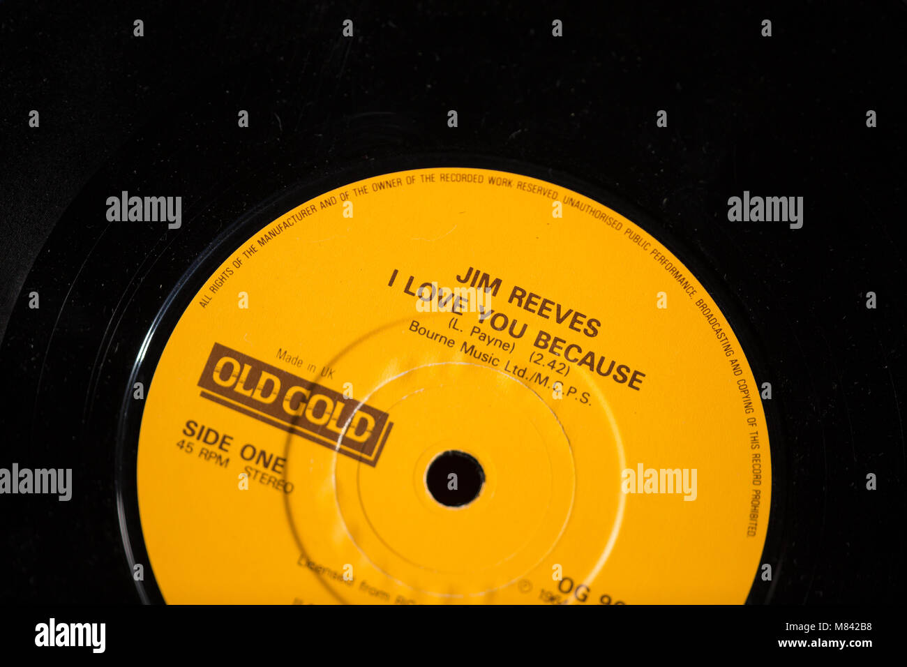 "Jim reeves ""I love you because""...hit single record 1964 Stock Photo"