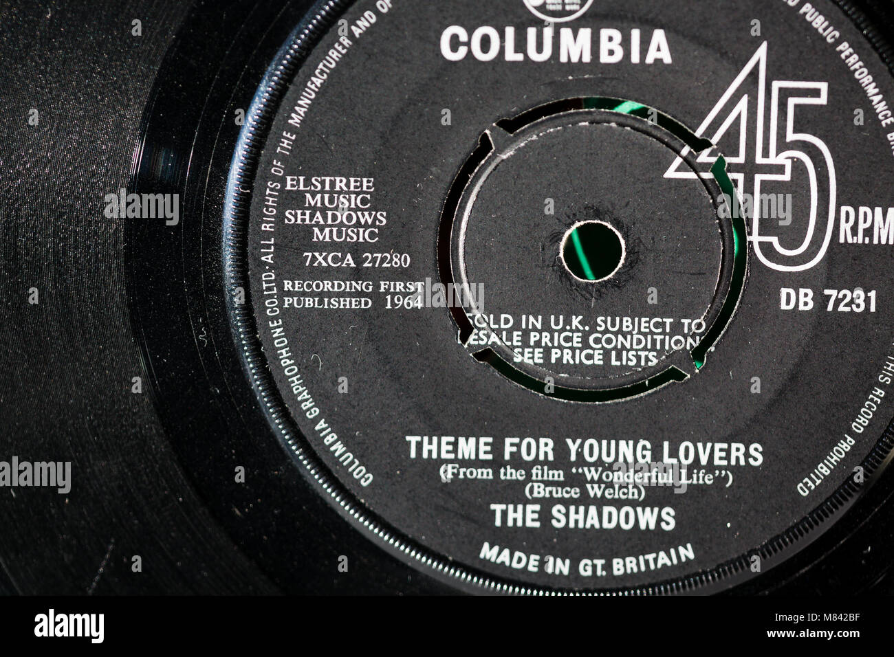 Theme for young lovers....The Shadows hit single record 1964 uk Stock Photo
