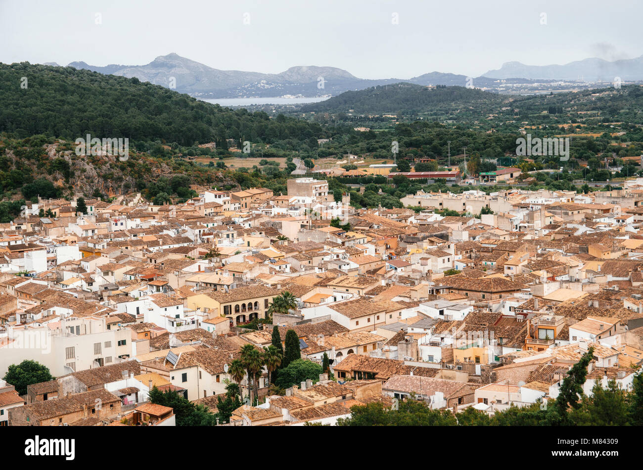 Aerial view of the Pollensa from the top of Calvary, Mallorca, Spain Stock Photo