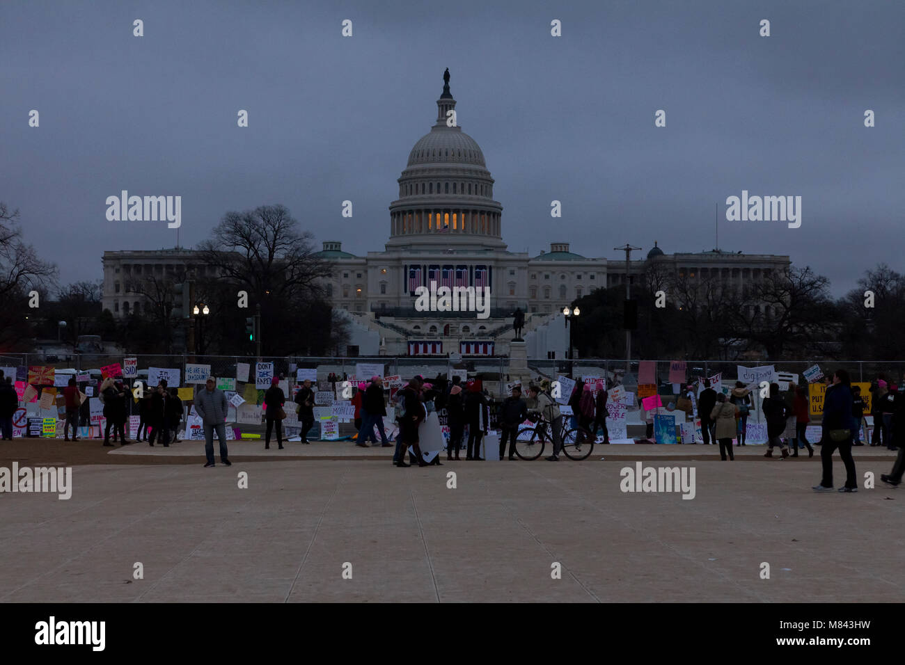 Women's March 2017 Protesters outside U.S. Capitol Building - Stock Image