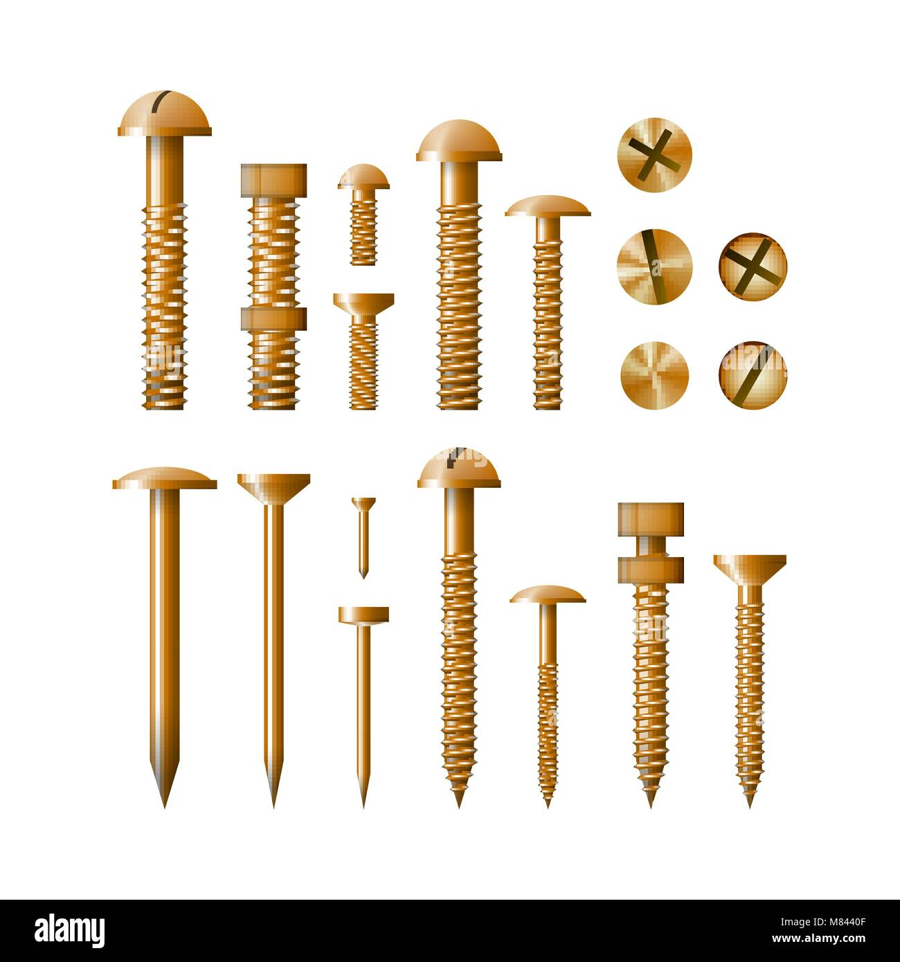 Set of fasteners Golden color vector illustration. A collection of tools. Screw, bolt, nut and nail. - Stock Image