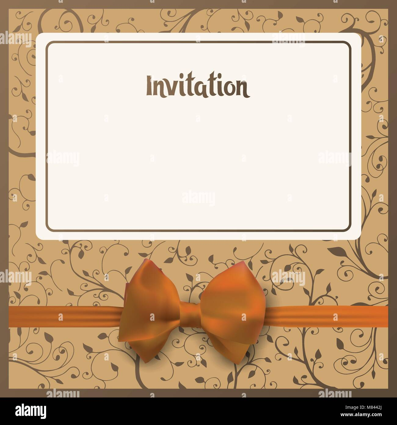 Invitation postcard. Beige background with place for your text. Yellow bow with ribbon. Greeting card vector illustration. - Stock Vector