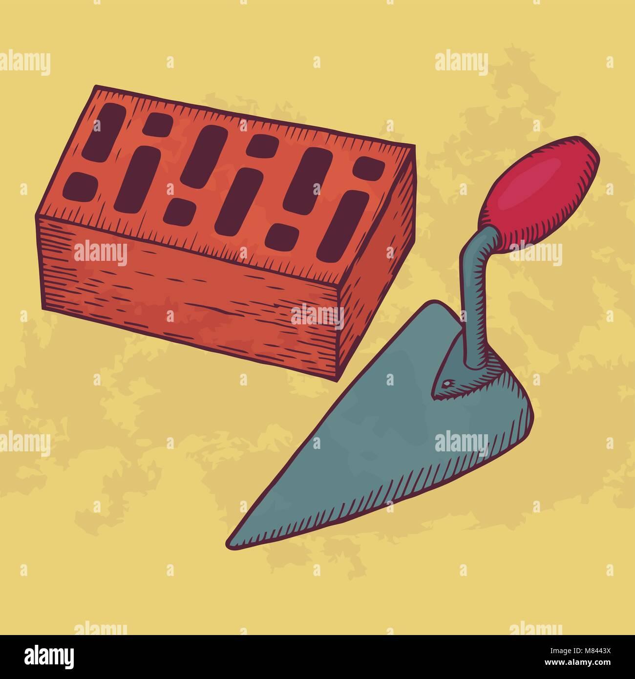 Brick and trowel vector illustration. Hand drawn work tool equipment. - Stock Vector