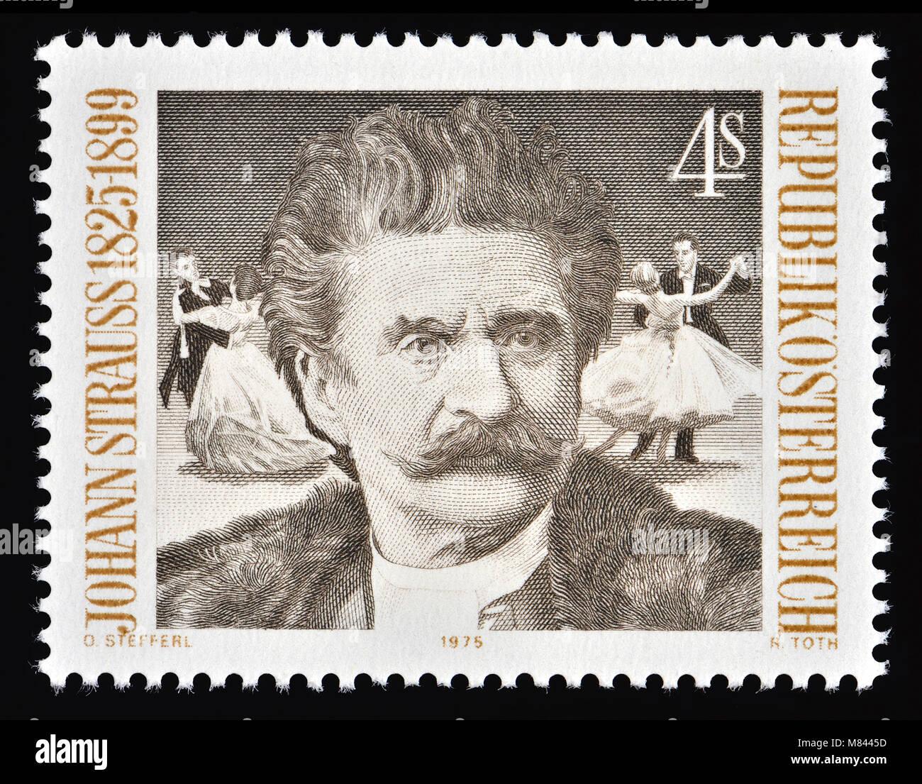 Austrian postage stamp (1975) : Johann Strauss II / Johann Strauss Jr /  the Younger (1825 – 1899) son of Johann Stock Photo